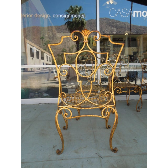 Early 20th Century French Moderne Gold Gilt Iron Chairs by Jean-Charles Moreux - Set of 4 For Sale - Image 5 of 10