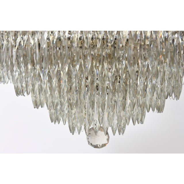 1920s Tiered Crystal Four Light Fixture For Sale - Image 5 of 11