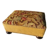 Image of Late 19th Century Victorian Needlepoint Upholstered Footstool For Sale