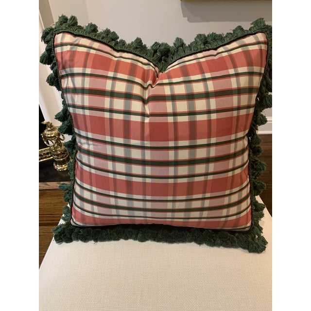Vintage Accent Schumacher Silk Plaid Pillows With Cowtan & Tout Trim - A Pair For Sale In New York - Image 6 of 12