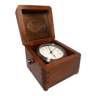 Colonial Quartz Nautical Desk Clock in Hinged Wood Box For Sale
