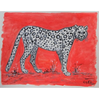 Chinoiserie Leopard Painting by Cleo Plowden For Sale