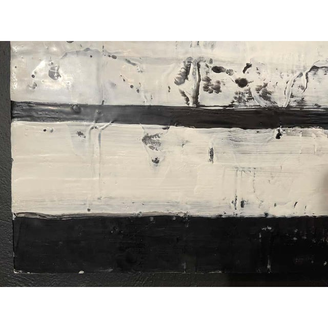 """Lynn Basa Encaustic Black and White Stripe Panel """"Mostly White"""" 2012 For Sale - Image 4 of 12"""