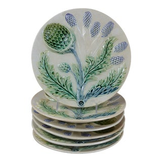 French Majolica Asparagus Plates - Set of 6