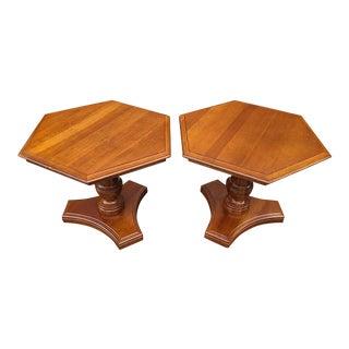 Ethan Allen Georgian Court Cherry Hexagonal Pedestal Side Tables - a Pair For Sale