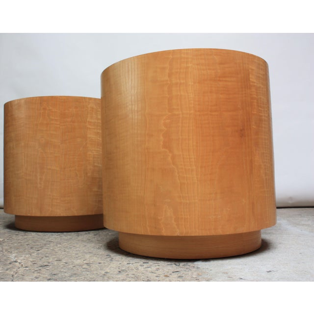 Pair of Large Bookmatched Bird's-Eye Maple Drum Tables - Image 6 of 7