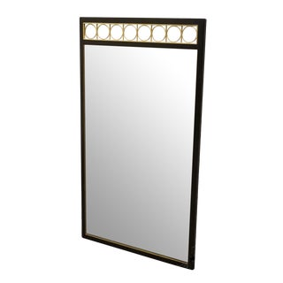 American of Martinsville Black and Gold Lacquered Dresser / Wall Mirror For Sale