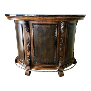 Traditional Marble Top Leather & Dark Wood Bar For Sale