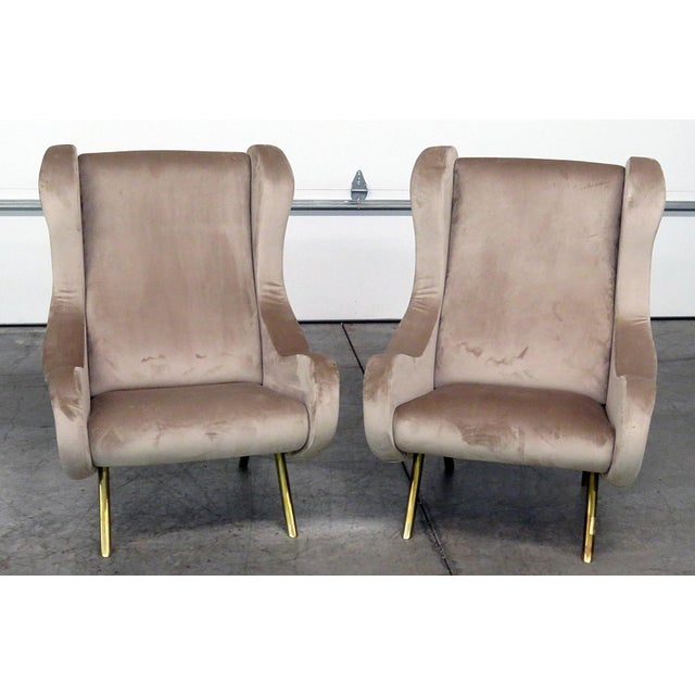 Pair of Italian Modern Lounge Chairs For Sale - Image 9 of 9