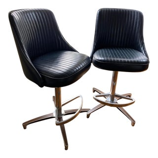 Mid-Century Modern Chromcraft Black Vinyl Swivel Chairs - a Pair For Sale