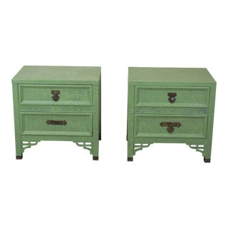 Dixie Green Shangri La Nightstands - a Pair For Sale