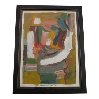 Mystery Artist Signed Abstract Expressionist Painting Modernism Vintage 1980's For Sale