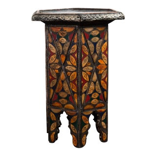 Vintage Moroccan Hexagonal Shape Gueridon/Side Table For Sale