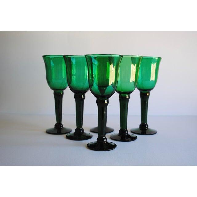 Vintage Emerald Green Wine Glasses - Set of 6 - Image 2 of 4