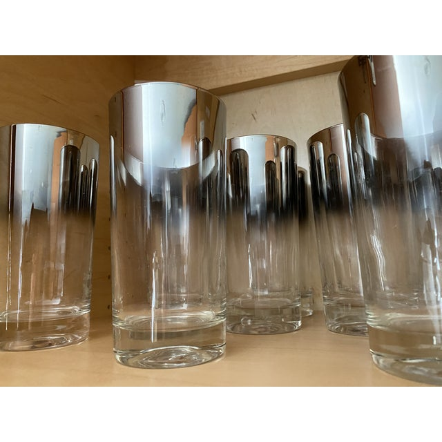 Glass Silver Shade Down Cocktail Glasses & Ice Bucket - Set of 13 For Sale - Image 7 of 9