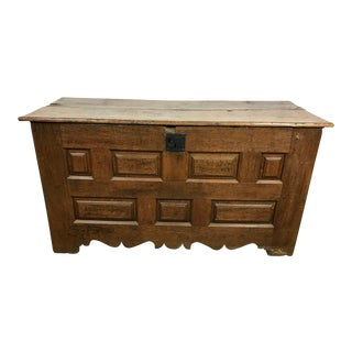 18th Century Primitive Oak Linen Coffer Chest For Sale
