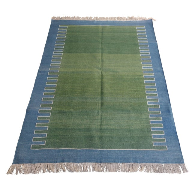Cotton Zig Zag Pattern Reversible Rug. Fringe runs along 3' sides. These special flat-weave dhurries are hand-woven with...