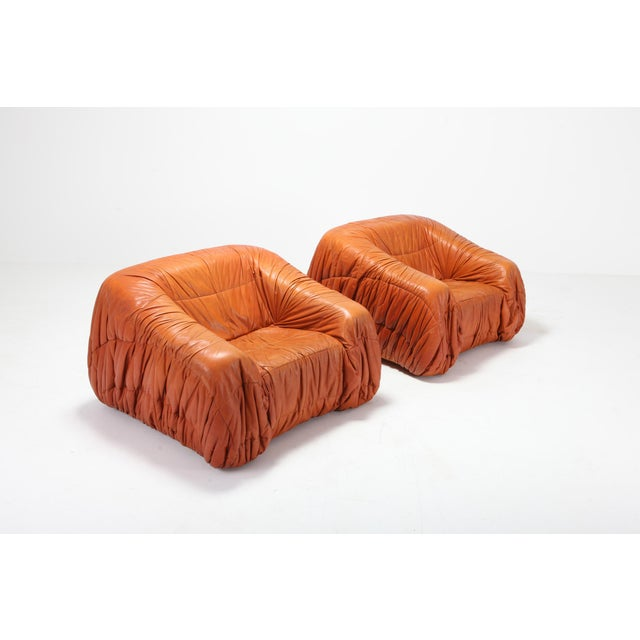 Brown Cognac Leather Postmodern Lounge Chairs by De Pas, D'urbino & Lomazzi For Sale - Image 8 of 11