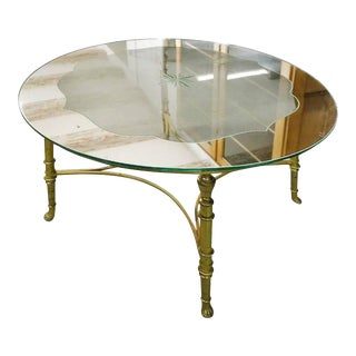 French Round Brass Coffee Table With Etched Glass Top For Sale