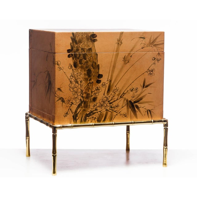 Hand-Painted Natural Tan Leather Box on Handcrafted Brass Stand as Side Table For Sale - Image 11 of 11