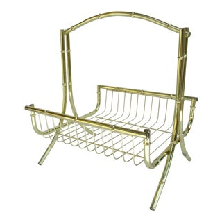 Mid-Century Brass Bamboo-Style Magazine Stand, Book Holder For Sale