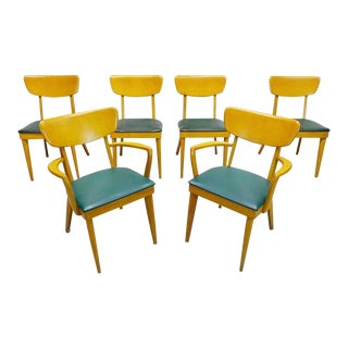 Mid Century Modern Heywood Wakefield M1551 Dining Chairs- Set of 6 For Sale