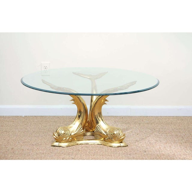 Asian Brass Dolphin Coffee Table For Sale - Image 3 of 9