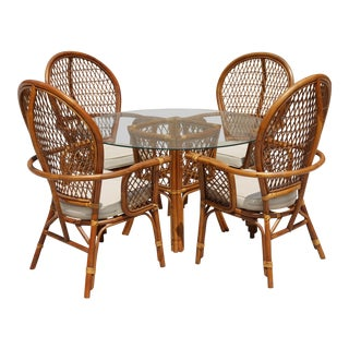Rattan Dining Table With Glass Top and 4 Chairs - Set of 5
