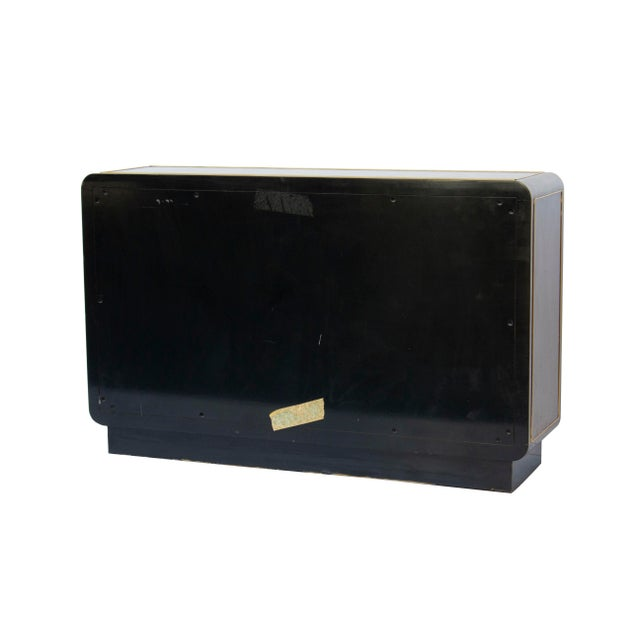 Asian Mastercraft Console Cabinet in Black Lacquer and Brass For Sale - Image 3 of 13