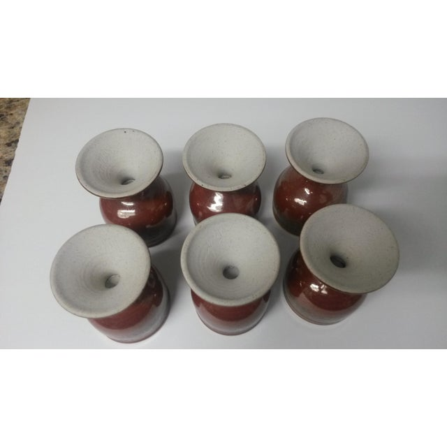 Ceramic Mid-Century Artisan Pottery Rust and Gold Wine Goblets Signed Parker - Set of 6 For Sale - Image 7 of 13