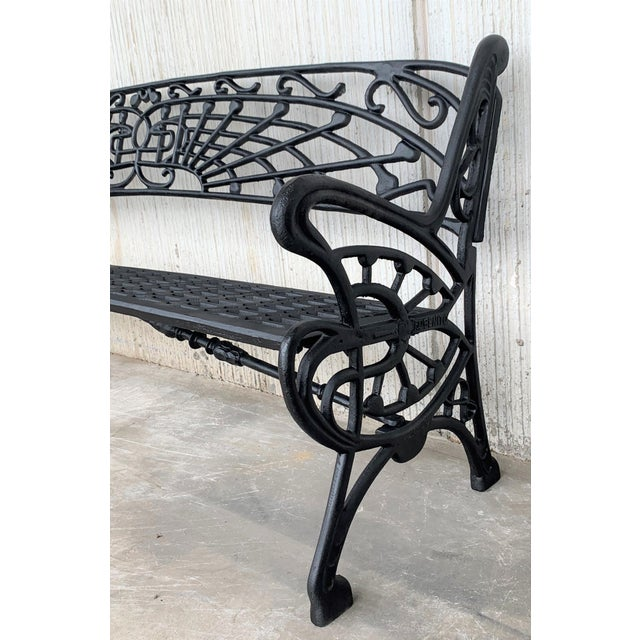 New Large Black Cast Aluminum Garden or Park Bench For Sale In Miami - Image 6 of 13