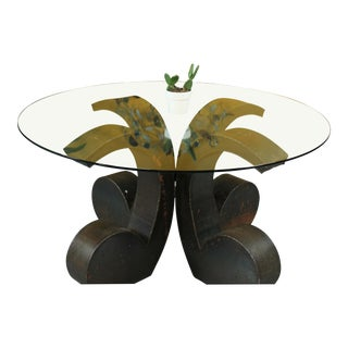 Glass Top Brutalist Dining Table For Sale