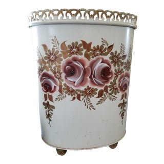 French Painted Tole Floral Wastebasket