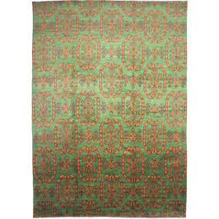 """Hand Knotted Ikat Rug by Aara Rugs Inc. - 14'6"""" x 10'3"""" For Sale"""
