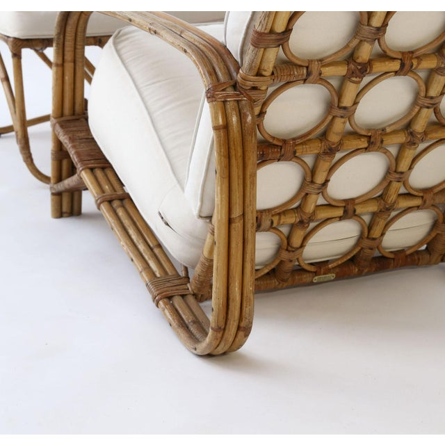 Vintage Bamboo Lounge and Ottoman For Sale - Image 11 of 12