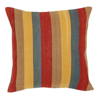 "Arteverk Vintage Hand Woven Colorful Stripe Modern Kilim Pillow 26""x26"" For Sale"