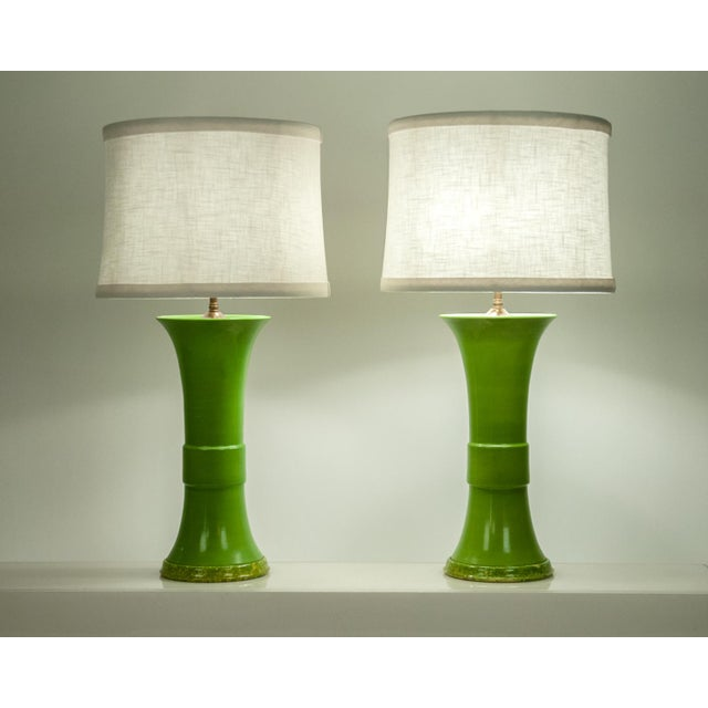 Green Pair of Green Porcelain Task Lamps For Sale - Image 8 of 10