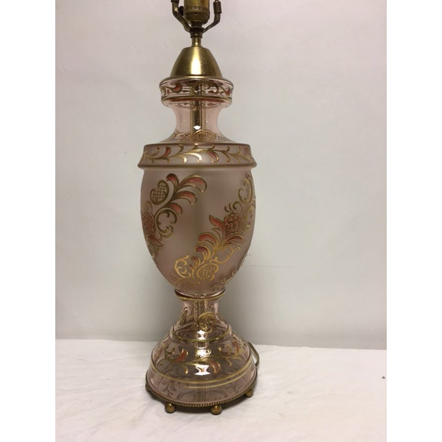 Hollywood Regency Peach & Gold Enameled Lamp - Image 9 of 9