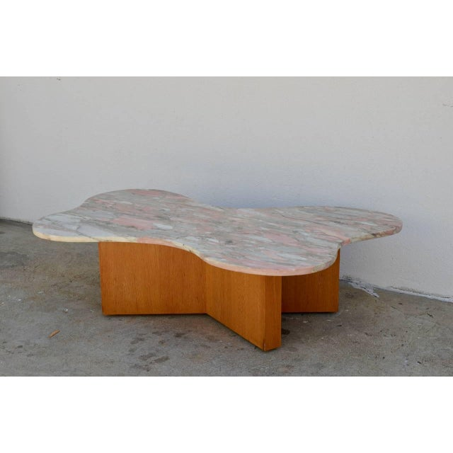 Flowing free-form marble 1970s coffee table.