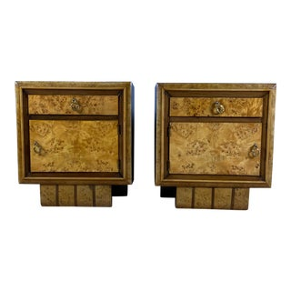 1930s Continental Birch Rootwood Nightstands - a Pair For Sale