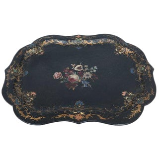 English Victorian Hand Painted Paper Mâché Tray For Sale