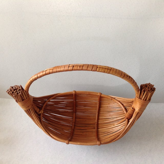 Vintage Handmade Wicker Rattan Basket For Sale - Image 7 of 9