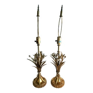 Vintage Italian Gold Gilt Tole Lamps - a Pair For Sale