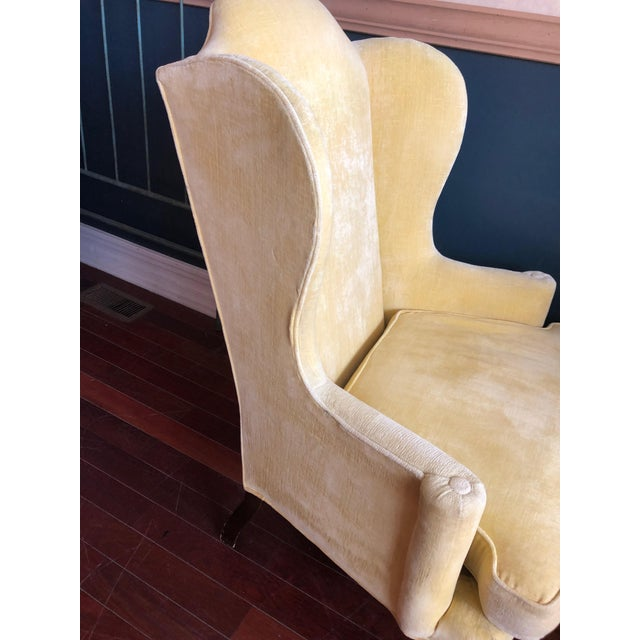 Vintage Drexel Yellow Wingback Chairs- Pair For Sale In Chicago - Image 6 of 13