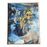 Image of Vintage Original Impressionist Still Life Painting With Sunflowers Signed For Sale