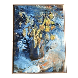Vintage Original Impressionist Still Life Painting With Sunflowers Signed For Sale
