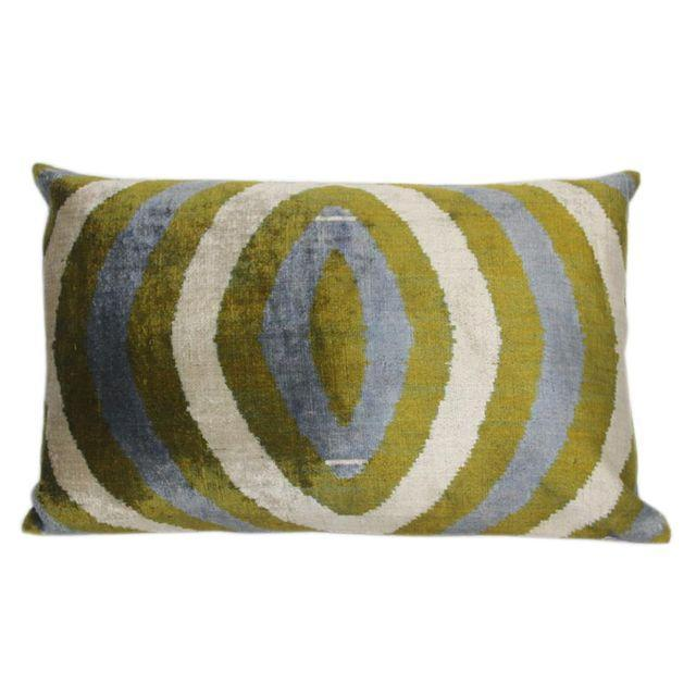 Sage & Mineral Blue Silk Velvet Pillow - Image 1 of 2