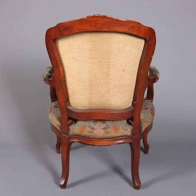 Antique French Louis XVI Carved Fruitwood Armchair With Needlepoint For Sale - Image 4 of 7