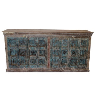 1920s Rustic Distressed Blue Sideboard For Sale