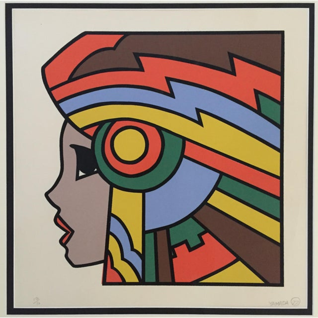 """1977 Graphic Silkscreen Signed Yamada """"Girl With Headdress"""" For Sale - Image 4 of 8"""